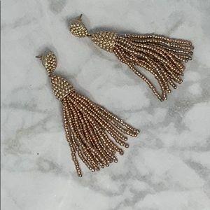 J Crew Gold Beaded Tassel Earrings EUC